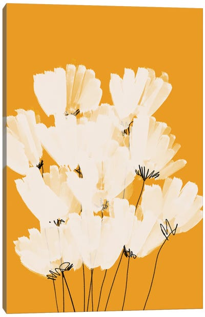 White Flowers On Gold Canvas Art Print