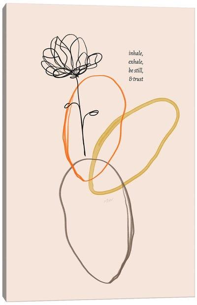 Inhale Exhale Flower Doodle Canvas Art Print