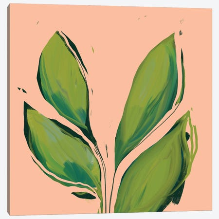 Green Leaves On Peach Background Canvas Print #MNH24} by Morgan Harper Nichols Canvas Artwork