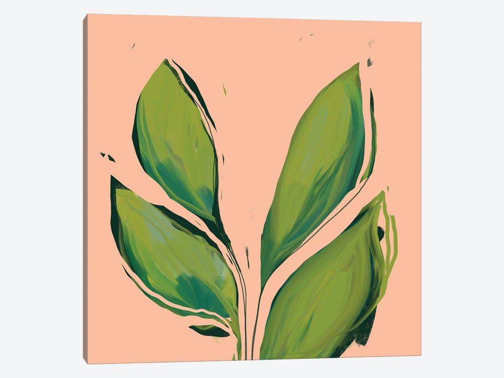 Green Leaves On Peach Background by Morgan Harper Nichols 1-piece Art Print