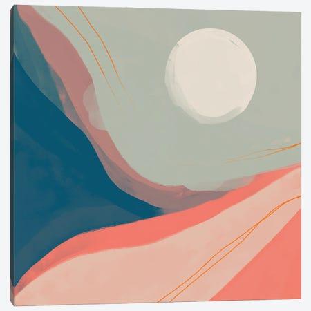 Moon Among Peach And Navy Canyon Canvas Print #MNH36} by Morgan Harper Nichols Art Print