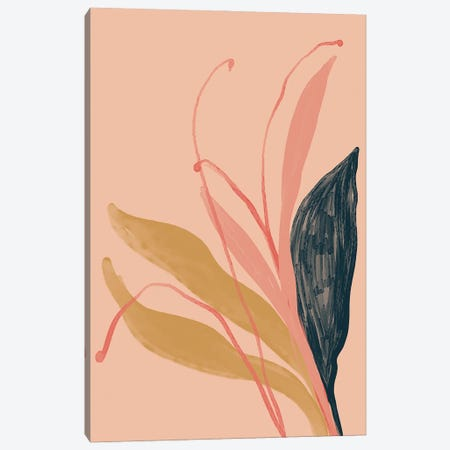 Navy Pink Gold Flowers On Peach Canvas Print #MNH38} by Morgan Harper Nichols Canvas Artwork