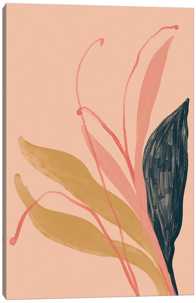 Navy Pink Gold Flowers On Peach Canvas Art Print