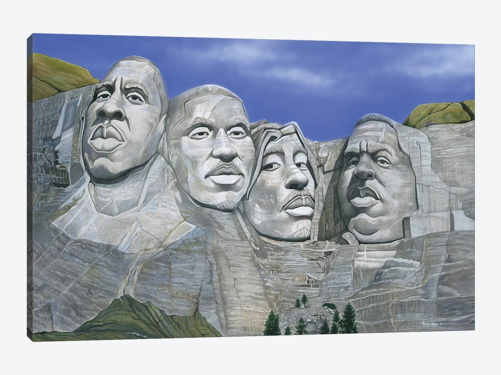 Hip-Hop Mt. Rushmore by Manasseh Johnson 1-piece Canvas Print