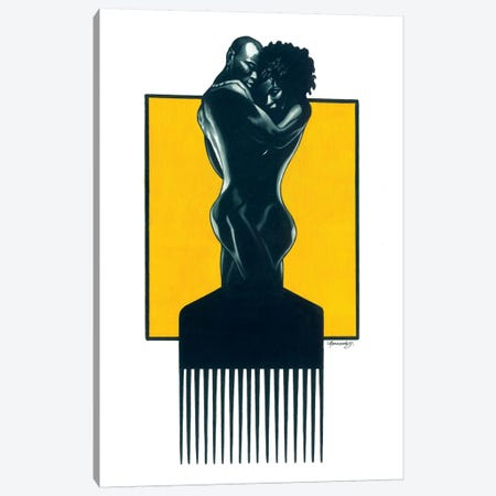 Afropick Couple Canvas Print #MNJ2} by Manasseh Johnson Canvas Artwork