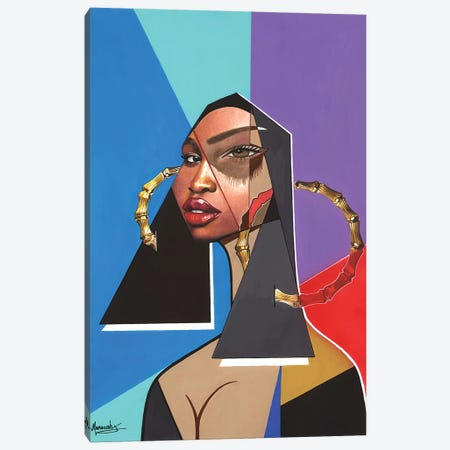 Black Mona Lisa Canvas Print #MNJ32} by Manasseh Johnson Canvas Wall Art