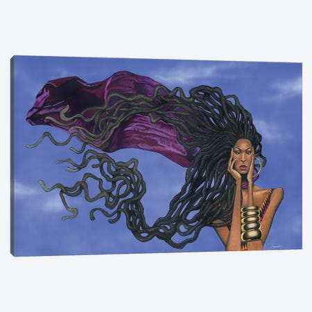 Locs In The Wind Canvas Print #MNJ33} by Manasseh Johnson Canvas Artwork