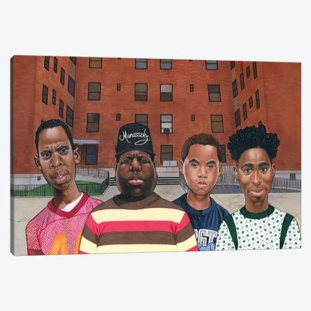 Boyz N Da Hood (Hiphop Legends) 3-Piece Canvas #MNJ38} by Manasseh Johnson Canvas Wall Art