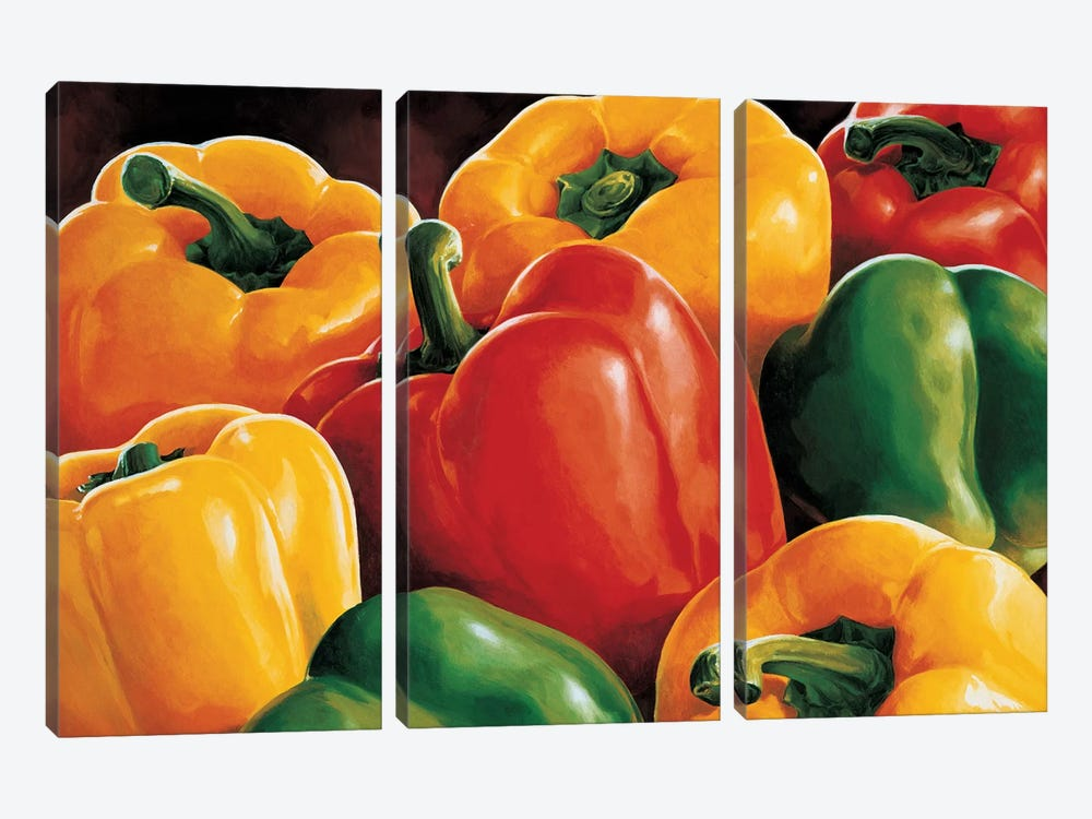 Peperoni by Stefania Mottinelli 3-piece Canvas Print