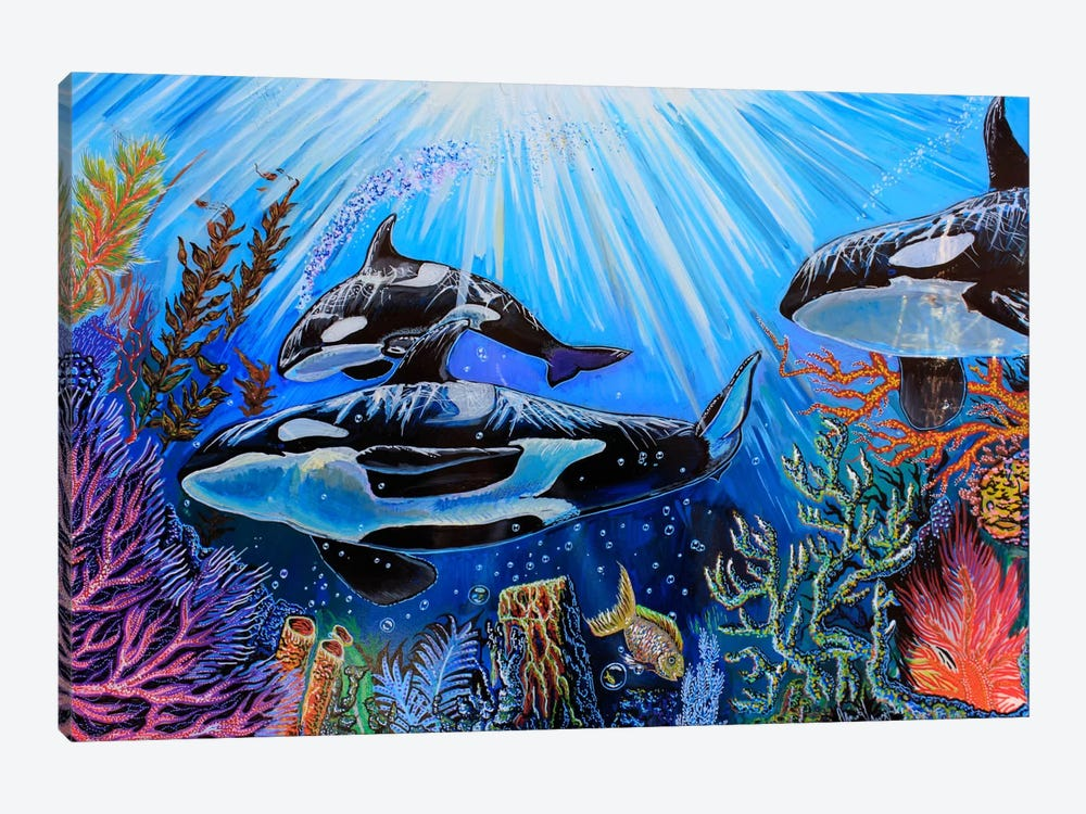 Killer Whales by Martin Nasim 1-piece Canvas Art Print
