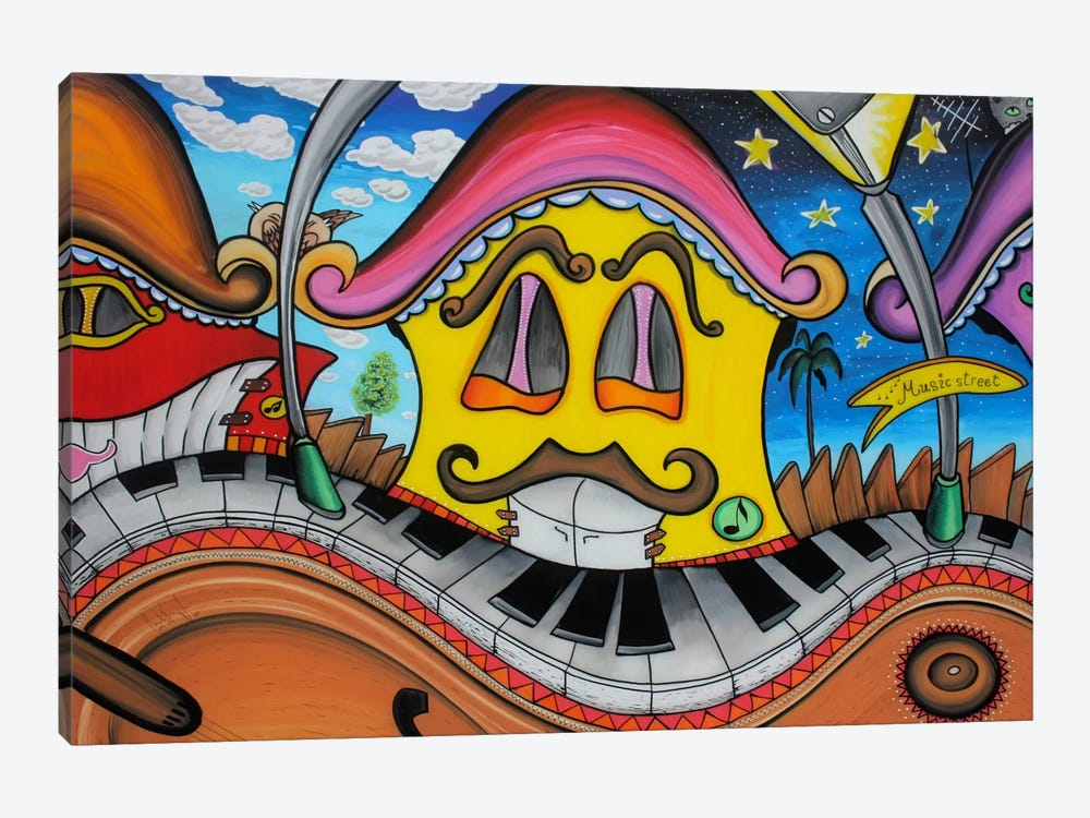 Music Street by Martin Nasim 1-piece Canvas Wall Art