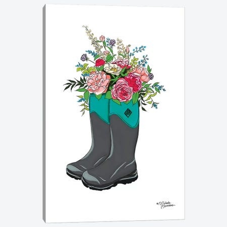 Floral Boots Canvas Print #MNO11} by Michele Norman Canvas Art Print