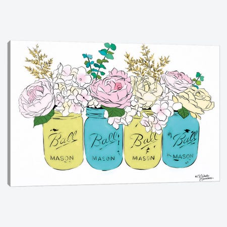 Floral Canning Jars 3-Piece Canvas #MNO12} by Michele Norman Canvas Art Print