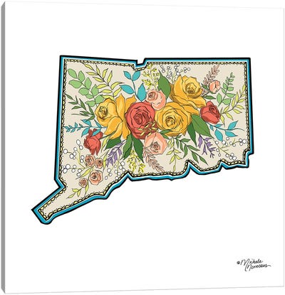 Floral Connecticut Canvas Art Print