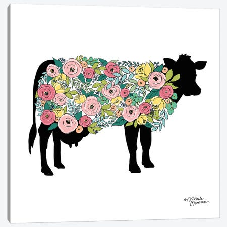 Floral Cow Canvas Print #MNO14} by Michele Norman Canvas Artwork