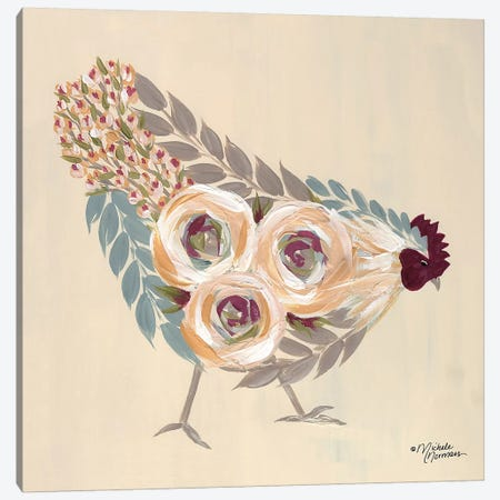 Floral Hen Blue and Yellow Canvas Print #MNO15} by Michele Norman Canvas Art