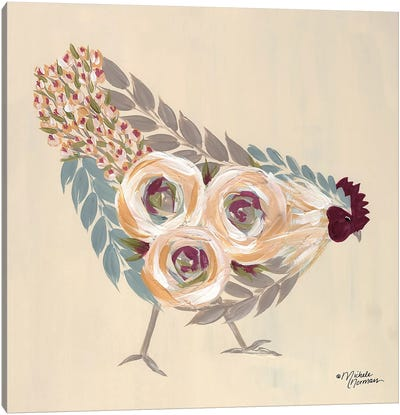 Floral Hen Blue and Yellow Canvas Art Print