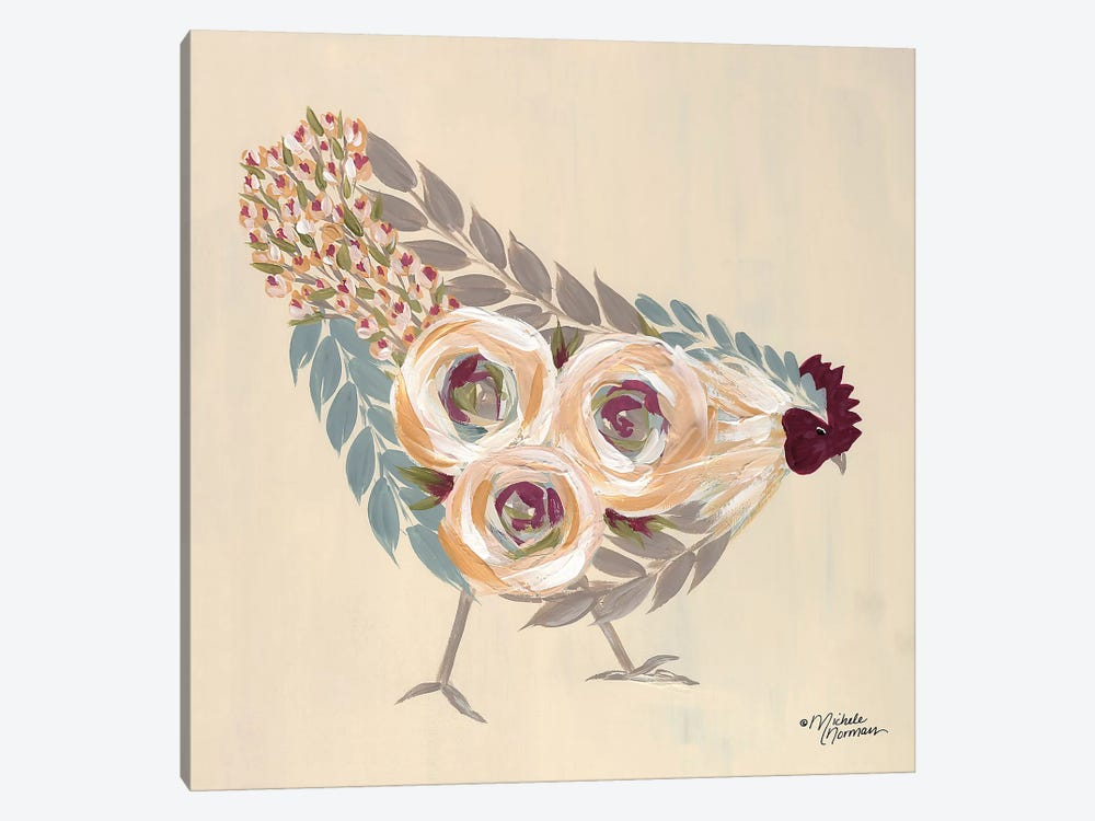 Floral Hen Blue and Yellow by Michele Norman 1-piece Canvas Art