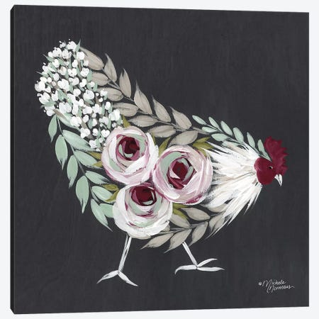 Floral Hen Mint and Pink Canvas Print #MNO16} by Michele Norman Canvas Art