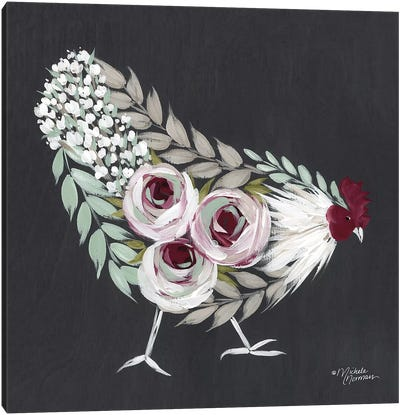 Floral Hen Mint and Pink Canvas Art Print