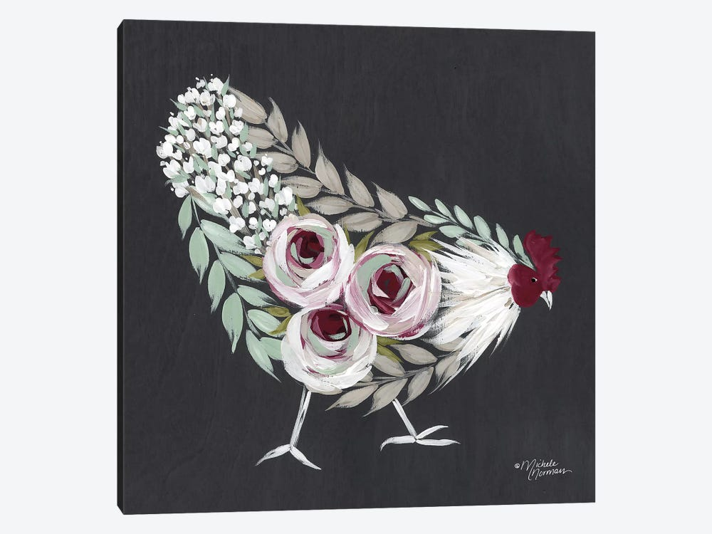 Floral Hen Mint and Pink by Michele Norman 1-piece Canvas Art Print