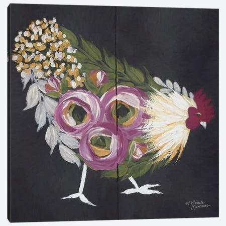 Floral Hen on Black Canvas Print #MNO17} by Michele Norman Canvas Wall Art