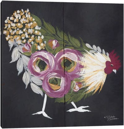 Floral Hen on Black Canvas Art Print