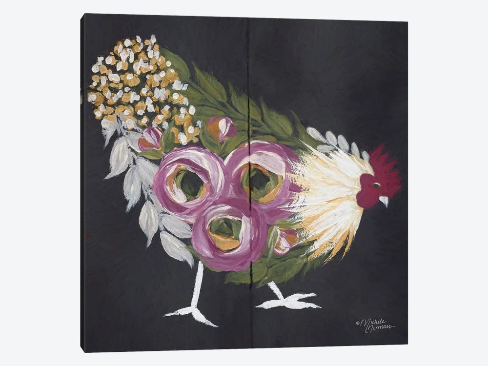 Floral Hen on Black by Michele Norman 1-piece Canvas Artwork