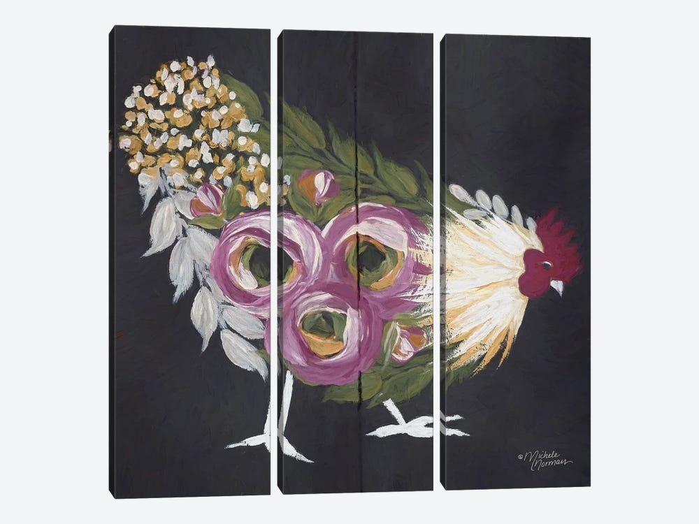 Floral Hen on Black by Michele Norman 3-piece Canvas Artwork