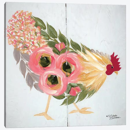 Floral Hen on White Canvas Print #MNO18} by Michele Norman Art Print