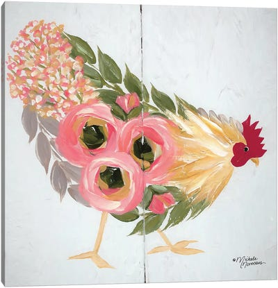 Floral Hen on White Canvas Art Print