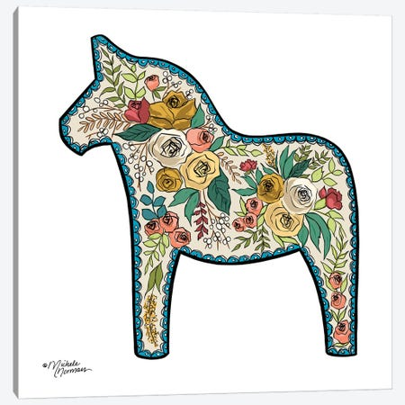 Floral Horse Canvas Print #MNO19} by Michele Norman Art Print