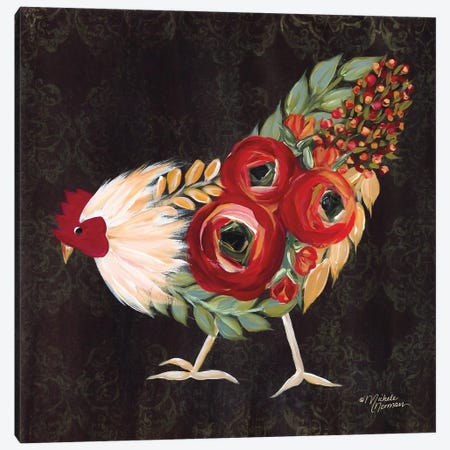Botanical Rooster Canvas Print #MNO1} by Michele Norman Art Print