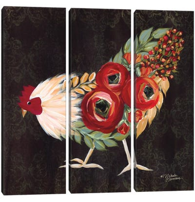 Botanical Rooster Canvas Art Print