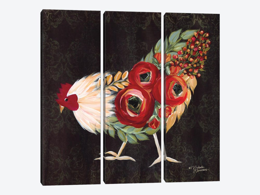 Botanical Rooster by Michele Norman 3-piece Art Print