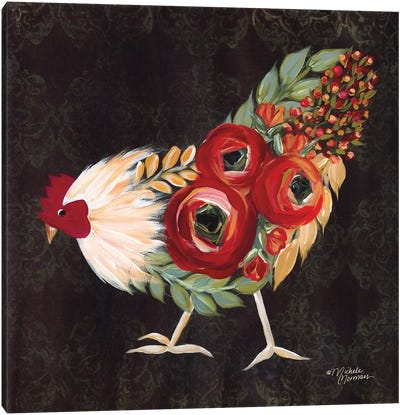 Botanical Rooster Canvas Art Print