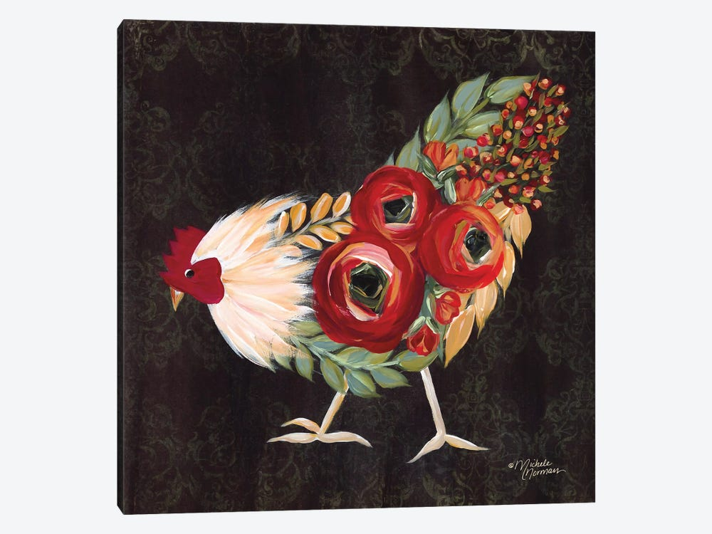 Botanical Rooster by Michele Norman 1-piece Canvas Art Print