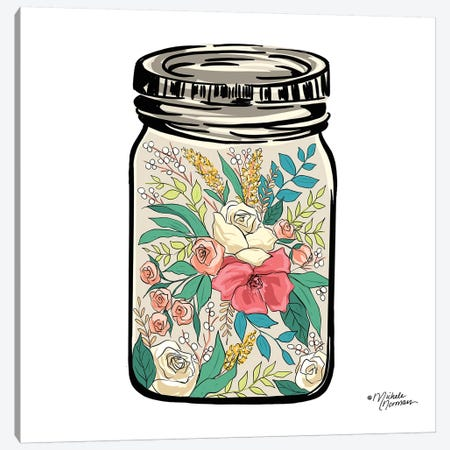 Floral Jar Canvas Print #MNO20} by Michele Norman Canvas Art