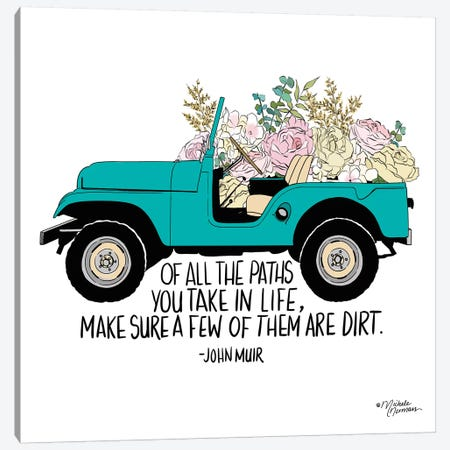 Floral Jeep 3-Piece Canvas #MNO21} by Michele Norman Canvas Art
