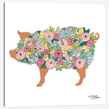 Floral Pig Canvas Print #MNO22} by Michele Norman Canvas Wall Art