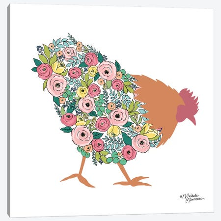 Floral Rooster Canvas Print #MNO23} by Michele Norman Canvas Wall Art