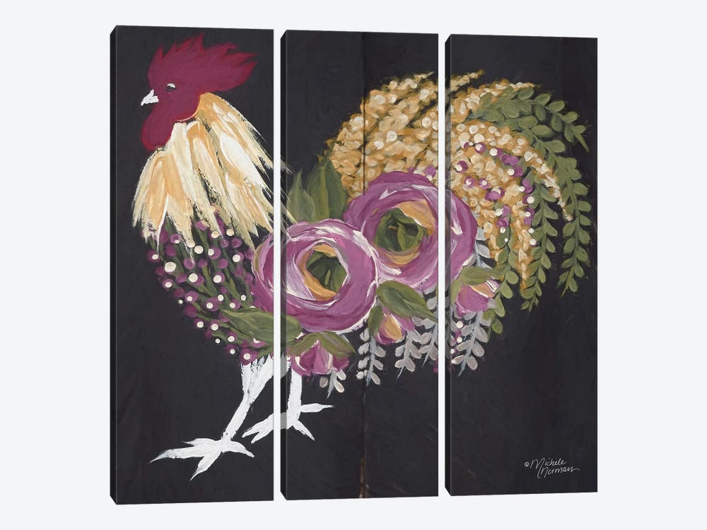 Floral Rooster on Black by Michele Norman 3-piece Canvas Art