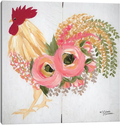 Floral Rooster on White Canvas Art Print