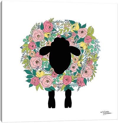 Floral Sheep Canvas Art Print