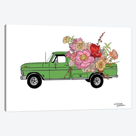 Floral Truck 3-Piece Canvas #MNO27} by Michele Norman Canvas Print