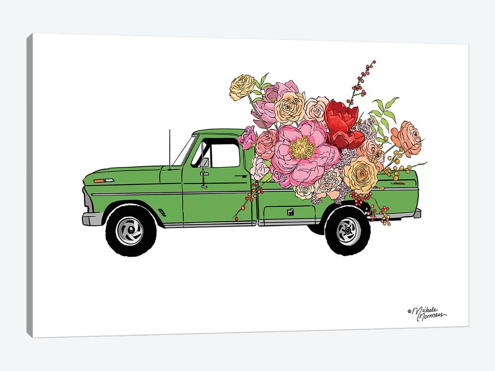 Floral Truck by Michele Norman 1-piece Canvas Art Print