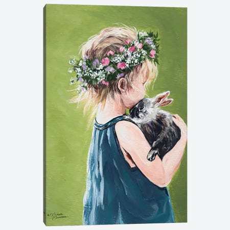 Girl with Bunny Canvas Print #MNO29} by Michele Norman Canvas Wall Art