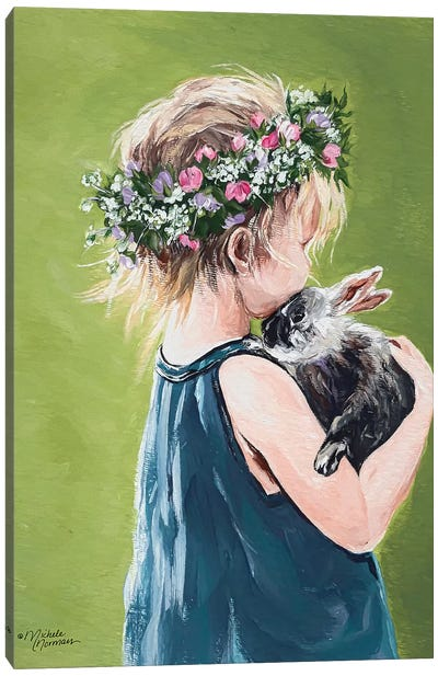 Girl with Bunny Canvas Art Print