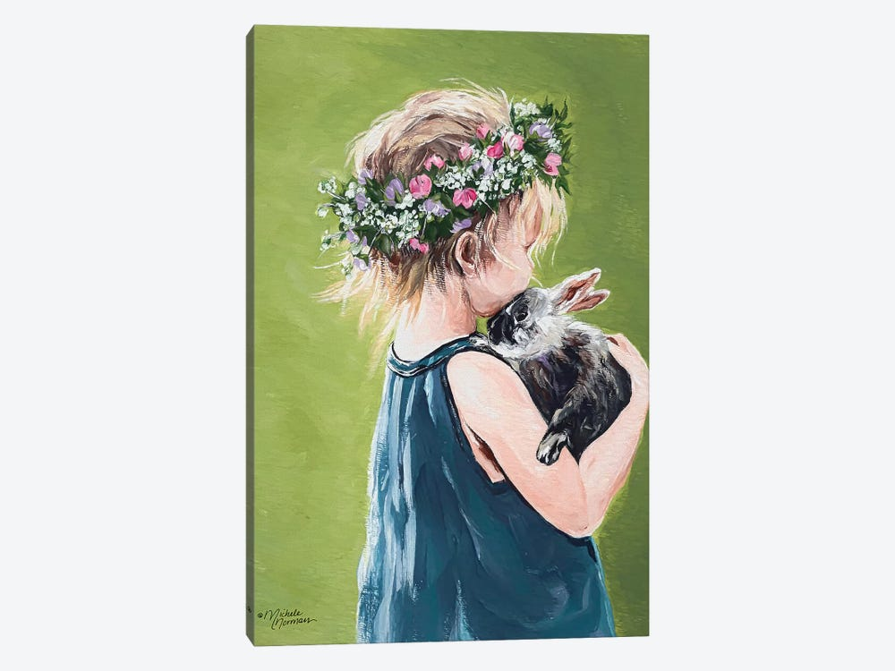 Girl with Bunny by Michele Norman 1-piece Art Print
