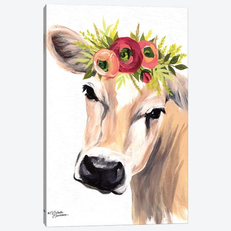 Jersey Cow with Floral Crown Canvas Print #MNO32} by Michele Norman Art Print